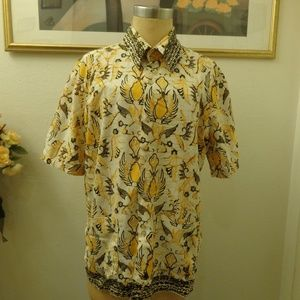 Vintage Abstract Print Short Sleeve Shirt